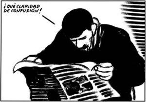 Viñeta de El roto. Periodismo, propaganda, manipulación